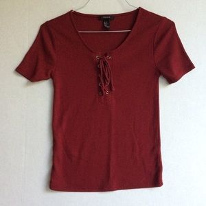 Maroon Forever 21 Lace Up Tie Short Sleeve Top | S